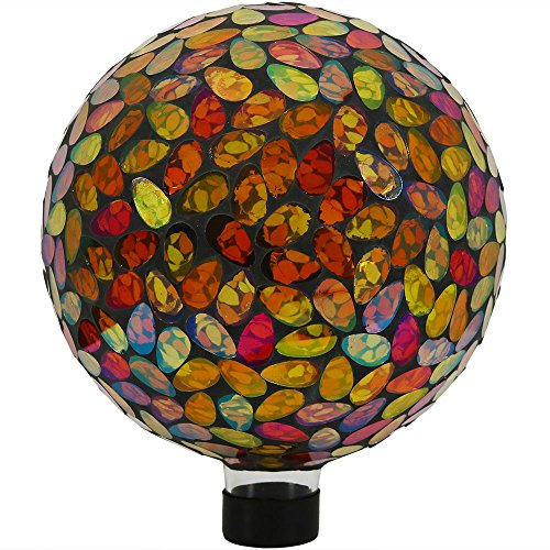 Sunnydaze Mosaic Gazing Globe Glass Garden Ball, Outdoor Lawn and Yard Ornament, Gold, 10 Inch