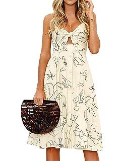 ccfdeb5155 FANCYINN Womens Floral Prints Tie Front Button Down Spaghetti Strap Midi  Dress