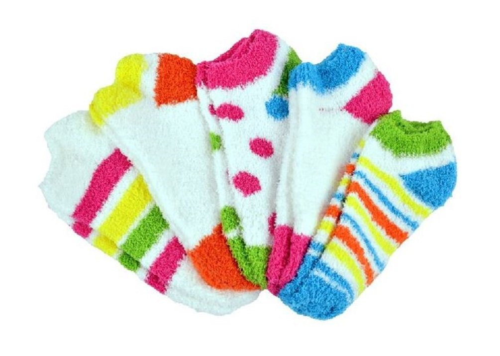 NO-SHOW FUZZY SOCKS 5 PAIR PACK ASSORTED COLORS (STYLE 2)