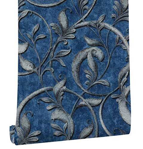 HaokHome 3165 Embossed Texture Damask Wallpaper Blue/Antique Silver for Home Wall Decor 20.8