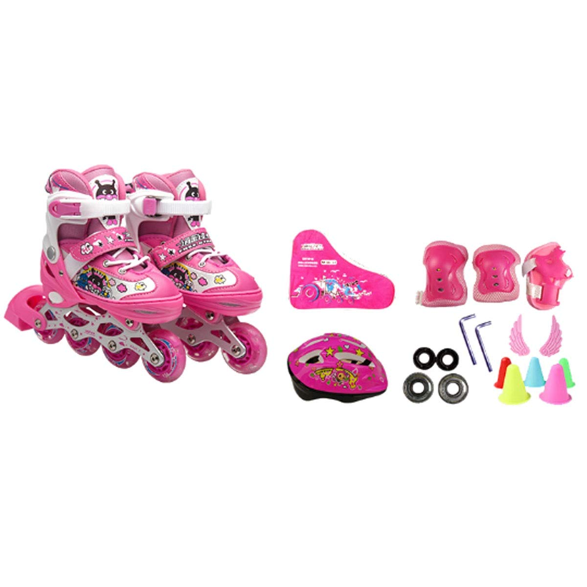 Hengxiang Fitness Inline Skates, Kid's Outdoor Skates, Four Wheels Adjustable Size,Thick Double Aluminum Alloy Bracket, Eight Wheels Of Full Flash, Excellent Gift For 3 Years Old To Teenagers, Pink Wo