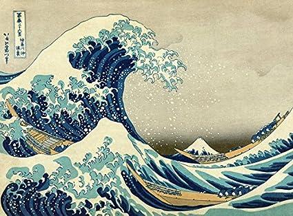 Toile Sur Châssis La Grande Vague De Kanagawa De Hokusai 75 X 55