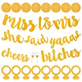 URlighting Bachelorette Party Banner Set of 3 - She Said Yaaas & Miss to Mrs & Cheers B1tches Banners with Ring Confettis & Circle Dots Accessory, Pre-Strung Gold Glitter Banner Sign for Wedding Decor