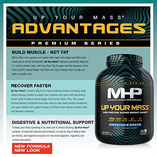 MHP Up Your Mass High Protein Super Weight Gainer, Cookies and Cream, 4.6 Pound by Maximum Human Performance (Image #1)