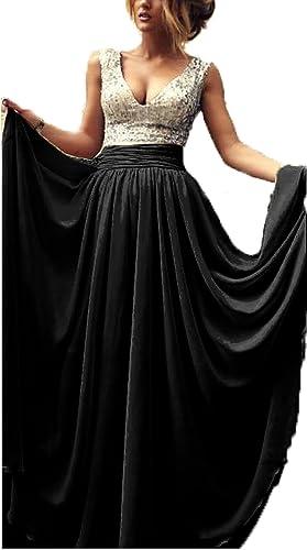 Babyonlinedress Long Prom Dress V neck Pleats waist sequins A line Gowns