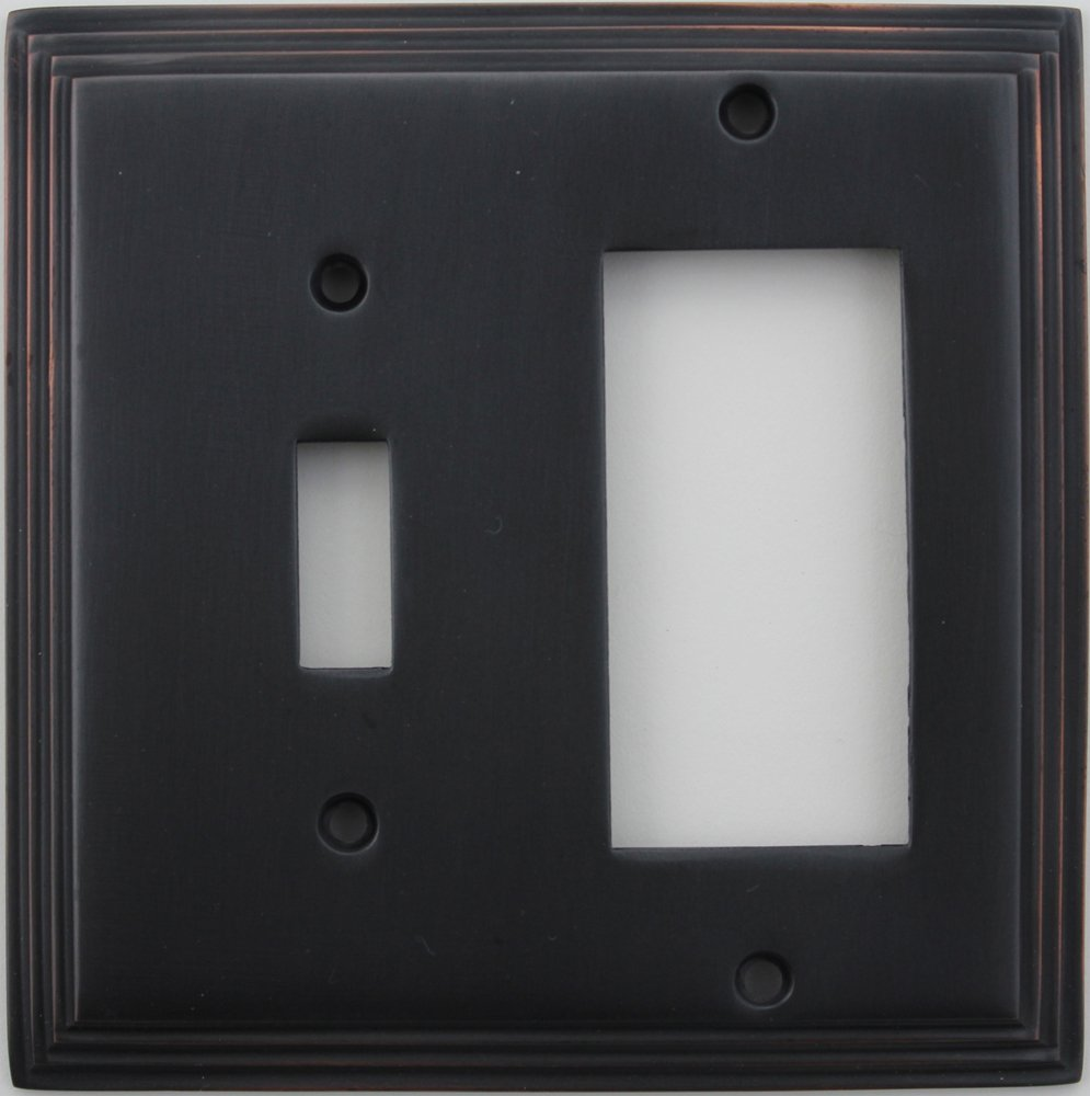 Classic Accents Deco Oil Rubbed Bronze Two Gang Wall Plate - One Toggle Switch Opening and One Gfi/Rocker Opening