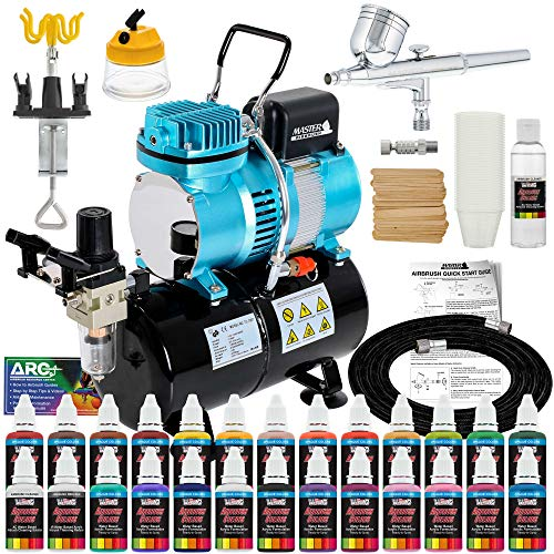 Master Airbrush Cool Runner II Dual Fan Air Tank Compressor System Deluxe Kit with Gravity Feed Airbrush, 24 Color…
