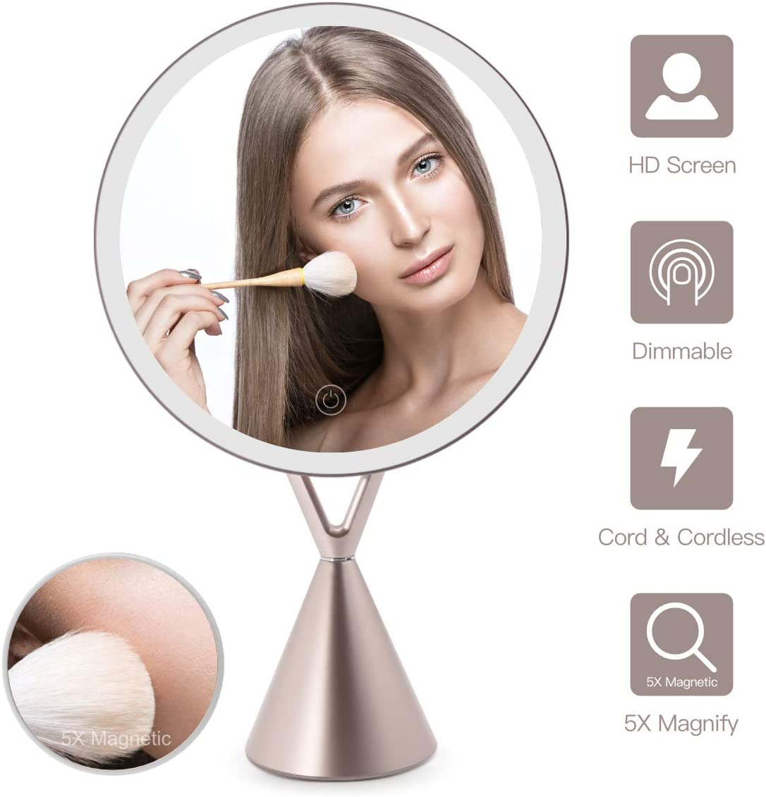 FASCINATE Magnetic Lighted Makeup Mirror, Dimmable Natural Light Vanity Makeup Mirror 45 Rotable Light Up Mirror 30 LED Touch Screen with Mirror 5X Magnification Round Cord Cordless Rose Gold