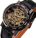 Men's Mechanical Elegant Skeleton Hollow Dial Wrist Watch (Black-Golden)