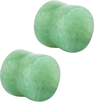 """1/"""" Organic Snow Jade Stone Saddle Ear Plugs PAIR of  9//16/"""" 3//4/"""" 7//8/"""" 5//8/"""""""