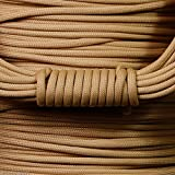 550 Parachute Cord - 100 Colors - 50 or 100 FT - 7 Strand - Type 3 - USA Made - Paracord (BEIGE, 100)