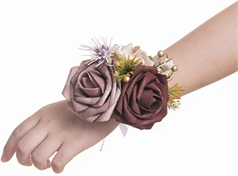 red Bracelet corsage,prom corsage Flower wrist corsage,flower bracelet