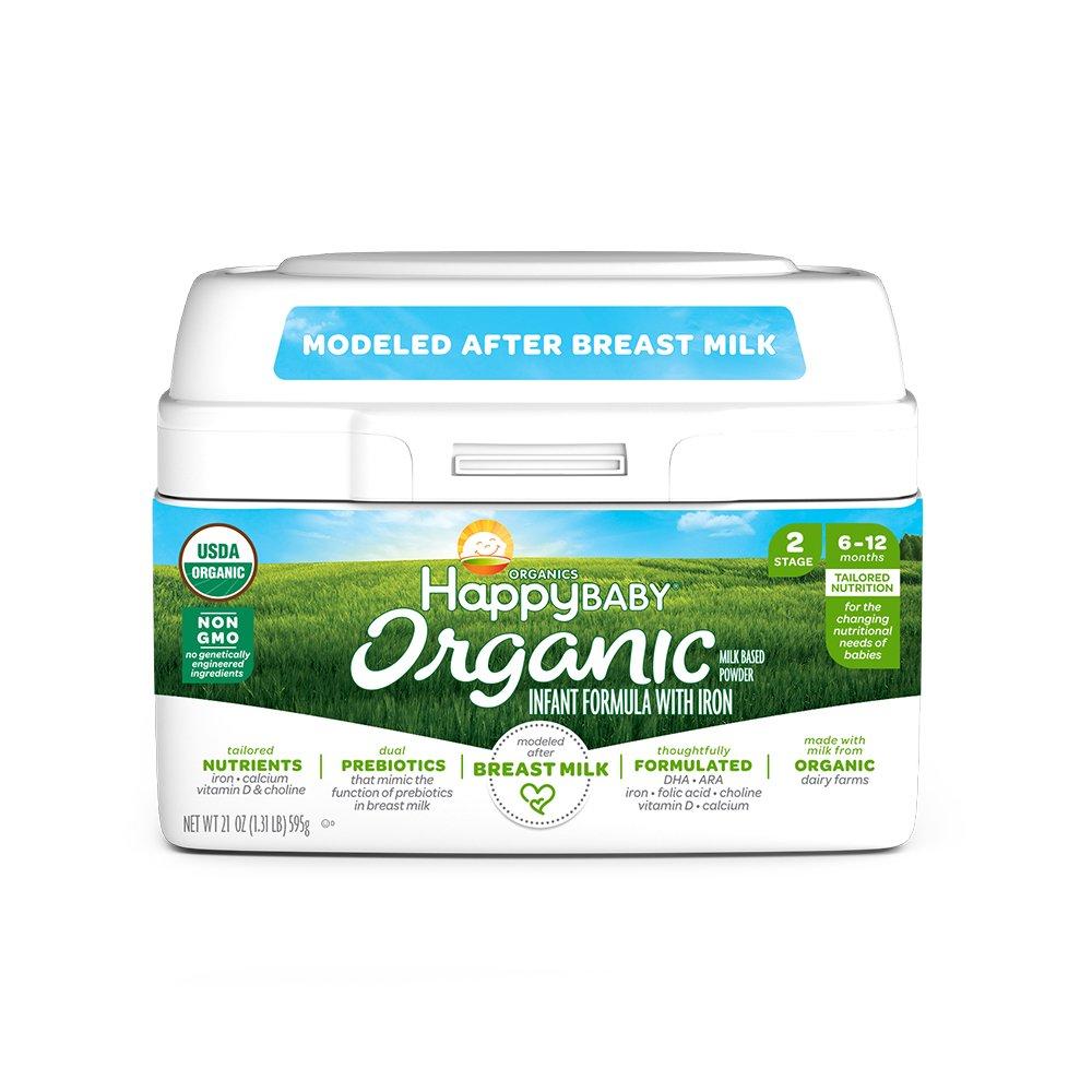 Happy Baby Organic Stage 2 Infant Formula Milk Based Powder with Iron, 21 Ounce Organic Formula Dual Prebiotics, Milk Based Powder, Non-GMO Gluten Free, No Corn Syrup Solids