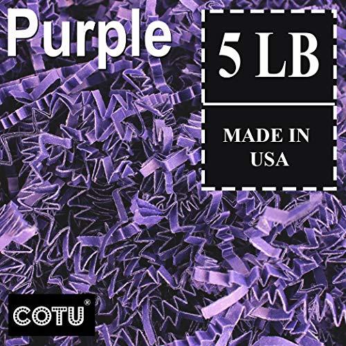 COTU (R) 5 LB Purple Crinkle Shred Gift Basket Shred Crinkle Paper Filler Bedding (80 oz) in a Box