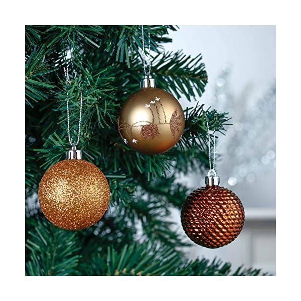 Valery Madelyn Palle di Natale 30 Pezzi 6cm Palline di Natale, Rame da Bosco e Oro Infrangibile Ornamenti Palla di Natale Decorazione per Albero di Natale Decor 5 spesavip
