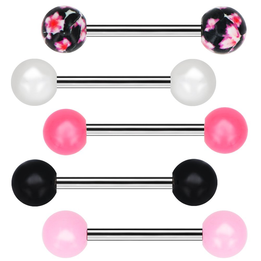 COCHARM Tongue Barbells 5pcs Candy Color Flower Pattern Tongue Barball Piercing Body Jewelry Tongue Rings COTB001