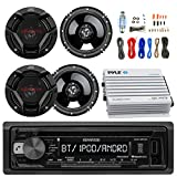 Kenwood KDCBT21 Car CD Player Receiver Bluetooth USB AUX Radio - Bundle Combo With 4x JVC CSDR620 6.5'' Inch 300-Watt 2-Way Black Audio Coaxial Speakers + + 4-Channel Amplifier + Amp Kit