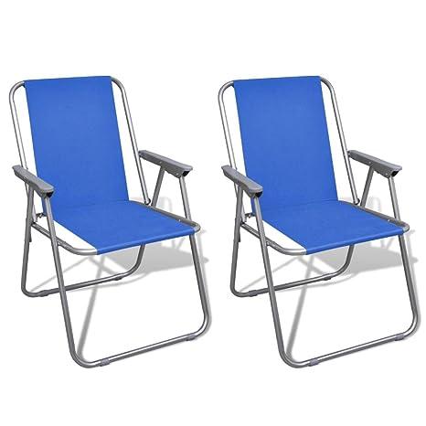 vidaXL Conjunto de 2 Sillas Azules Plegables de Exterior Mueble Campamento Camping
