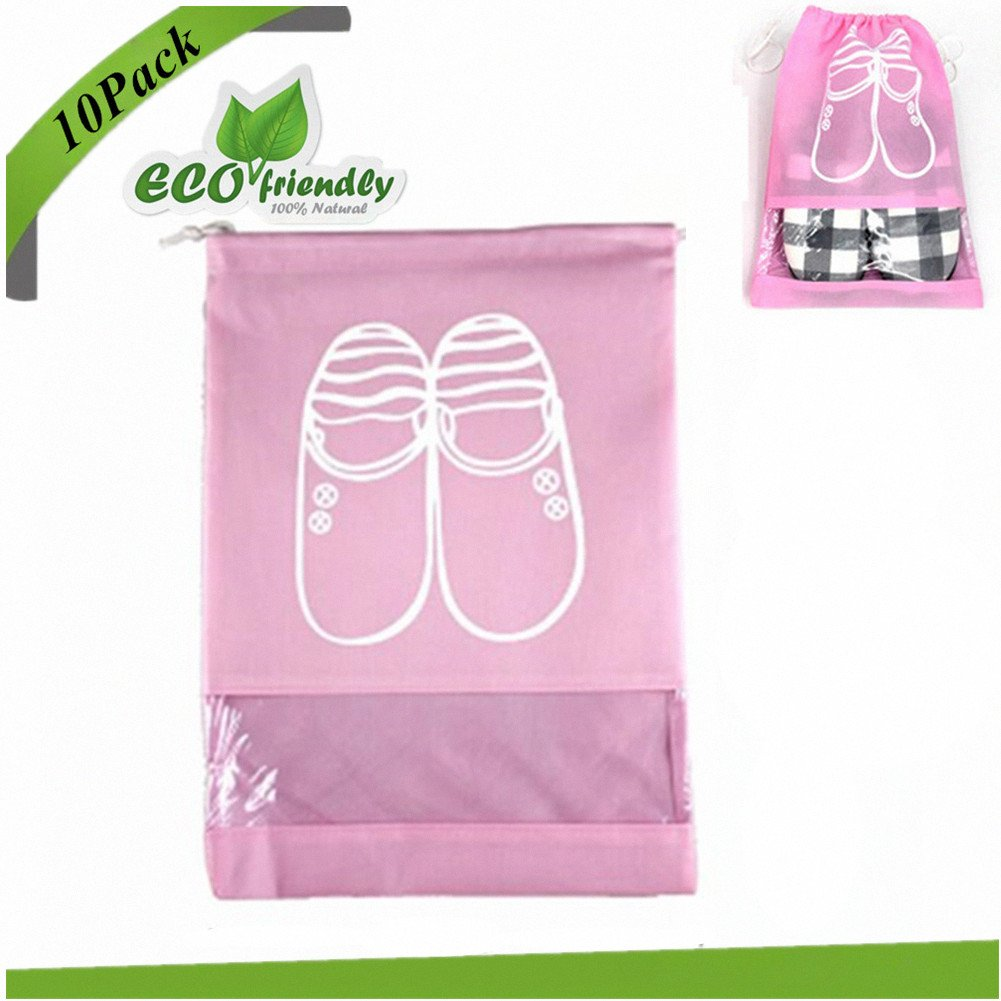 Shoe Organizer Bags, Chickwin 10x Travel Portable Dust-proof Space Saving Storage Bags Breathable Drawstring Transparent Window for Boots High Heel (10 pack large size, pink)