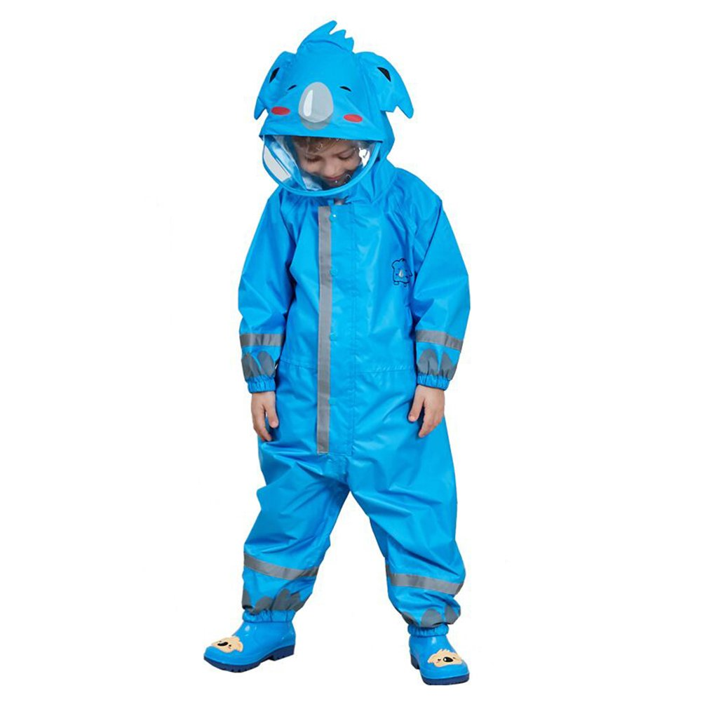 Gagacity Children Boys Girls Waterproof All in one Hooded Rainsuit with 3D Cartoon Shape for Outdoor Play 2-8 Years Old