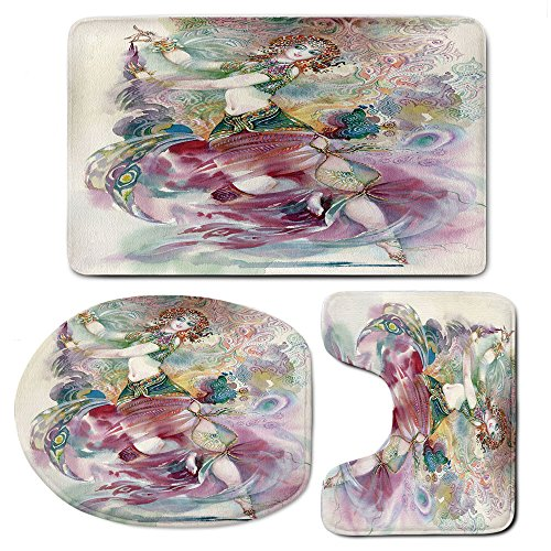 3 Piece Bath Mat Rug Set,Watercolor,Bathroom Non-Slip Floor Mat,Oriental-Dance-Theme-Young-Girl-Performing-in-Traditional-Costume-Fantasy-Figure,Pedestal Rug + Lid Toilet Cover + Bath Mat,Multicolor by iPrint (Image #1)