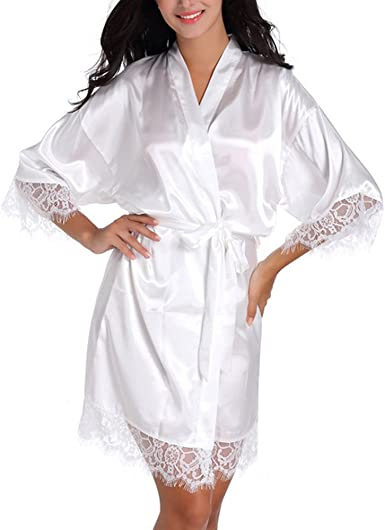 Girls Silk Stain Kimono Solid Robe Sleepwear Bathrobe Spa Wedding Birthday Gift