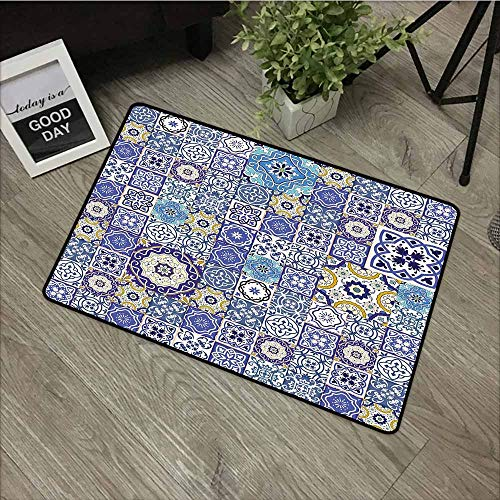 (LOVEEO Crystal Velvet Doormat,Blue Rich Collection of Ancient Moroccan Tiles Patchwork Style Pattern Oriental Arabesque,Rustic Home Decor,16