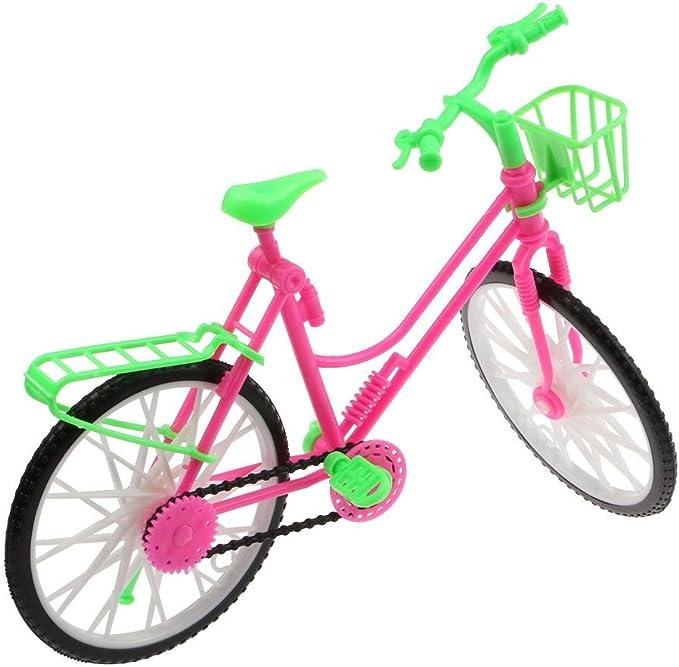 VANKER Accesorios De Muñeca Brillante Bicicleta Rosa Y Verde Bicicleta Con Cesta Para Grande: Amazon.es: Bebé