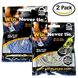 LOCK LACES Reflective 2-Pack (Elastic No Tie Shoelaces) (Boston Blue-Greyhound)