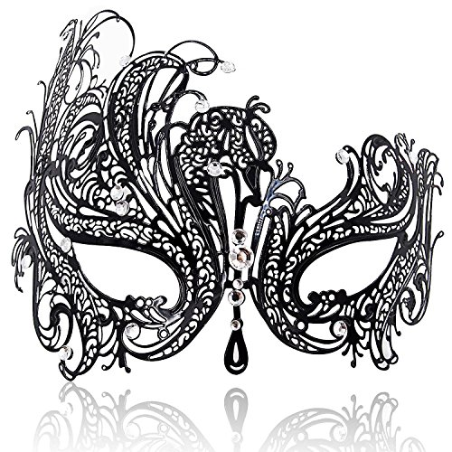 FaceWood Masquerade Mask for Women Ultralight Metal Mask Shiny Rhinestone Venetian Pretty Party Evening Prom Ball Mask.(01) -