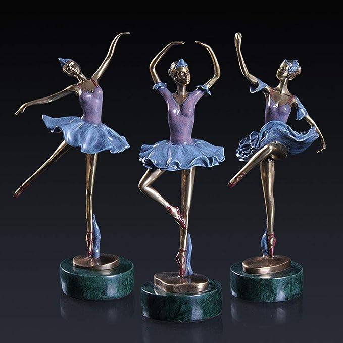 3 Pack estilo europeo bronce, bailarinas, esculturas artísticas ...