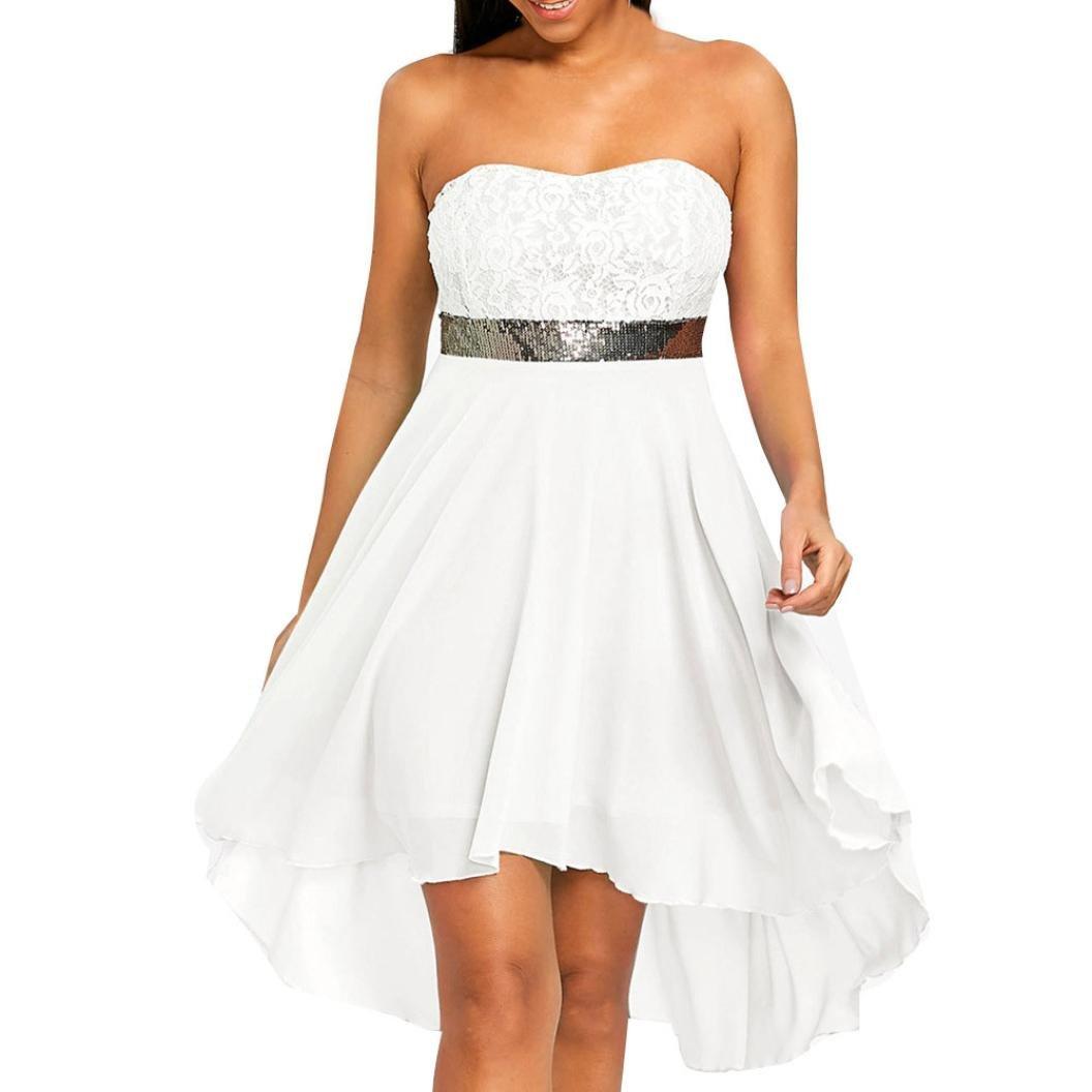 Hot Sale Evening Dress,Women Party Full Dress Off Shoulder Empire Waist Chiffon Bandeau Irregular Dress (XL, White) by Leedford Women Dresses