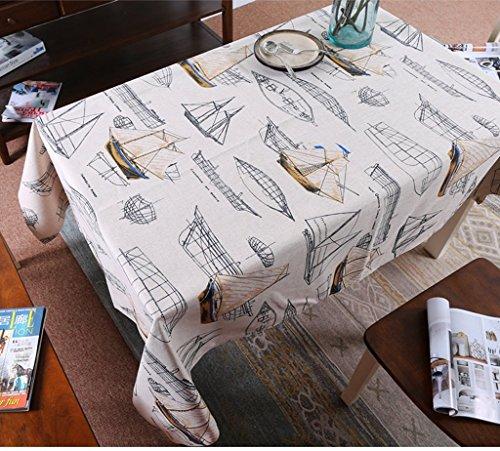 BAIF Mediterranean Sailing Wallpapers Art Table Cloth Cotton Cover Coffee Table Cloth Upholstery (Size : 200145) (Table Coffee Mediterranean)