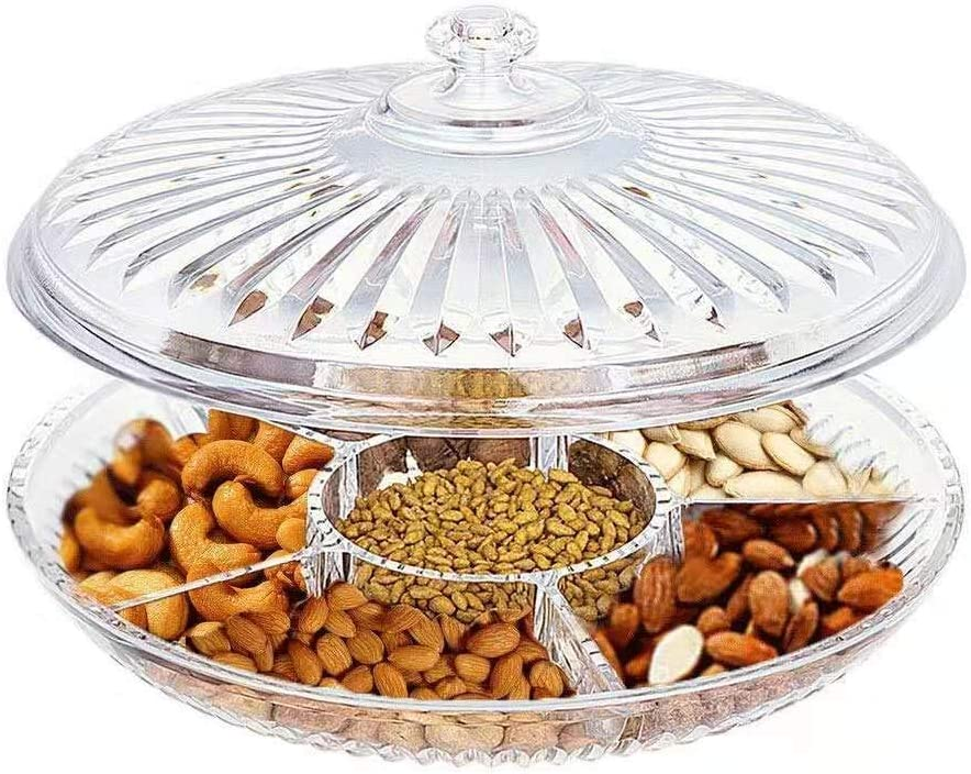FEOOWV Creative Acrylic Multifunctional Party Snack Tray with Lid,Serving Dishes for Dried Fruits Nuts Candies Fruits,6-Compartment (Clear)