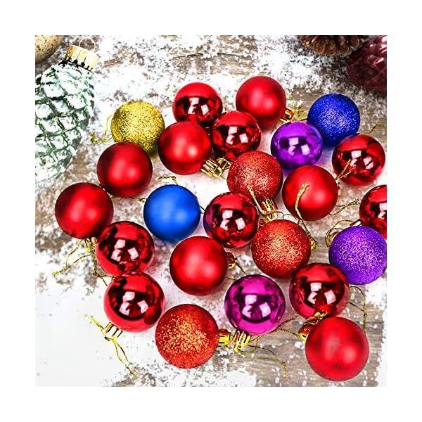 Yisscen Palle di Natale Decorazioni per Alberi, Palle per Alberi di Natale, Palle Decorative Natalizie, Palline Decorative Luccicanti opache e Lucide, per Decorazioni Feste, 24 Pezzi (Rosa Rossa) 3 spesavip