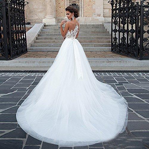 CoCogirls IIIusion Brautkleider Garten Kleider Weiß A Spitze Braut Sexy Hochzeitskleider Übergröße Line Hochzeitskleid prApqO