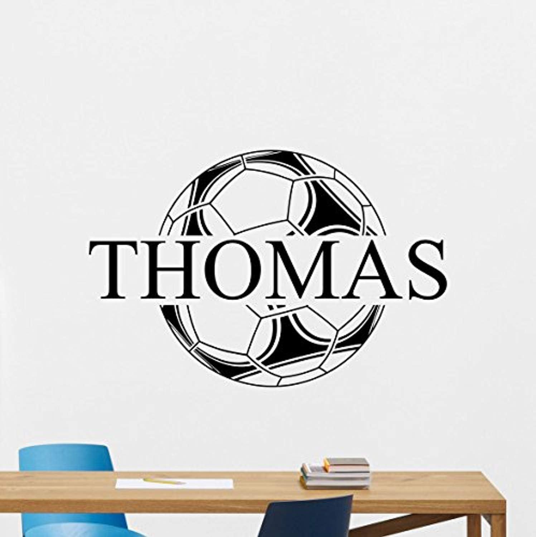 Personalised Name Wall Art Footballs Vinyl Sticker Boys Girls Room Bedroom