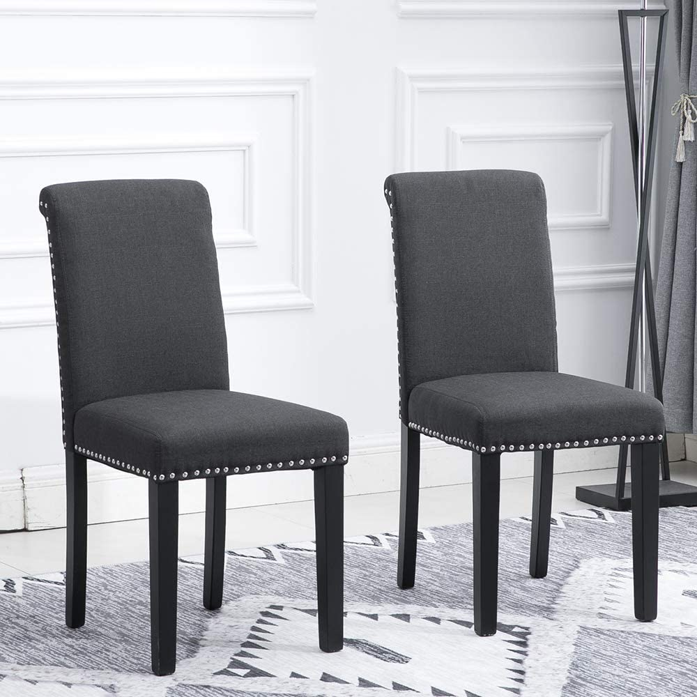 HomeSailing EU Grey Dining Room Chairs Button Rivet Armchair with Wood Legs High Back Padded Seat for Kitchen Living room Lounge Chair 2 Sets