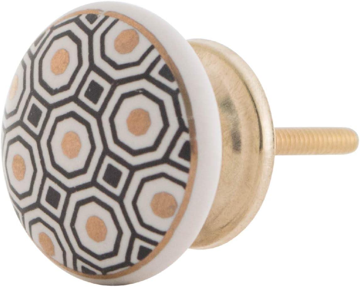 Knober Bouton de meuble en c/éramique peint /à la main Style maison de campagne Style shabby chic Poign/ée de commode
