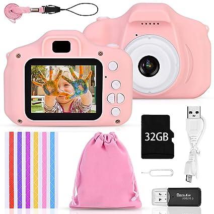 Faburo Set de Cámara de Fotos Digital para Niños, Cámara Infantil con Tarjeta de Memoria Micro SD 32GB, Cámara Digital Selfie Video cámara Infantil ...