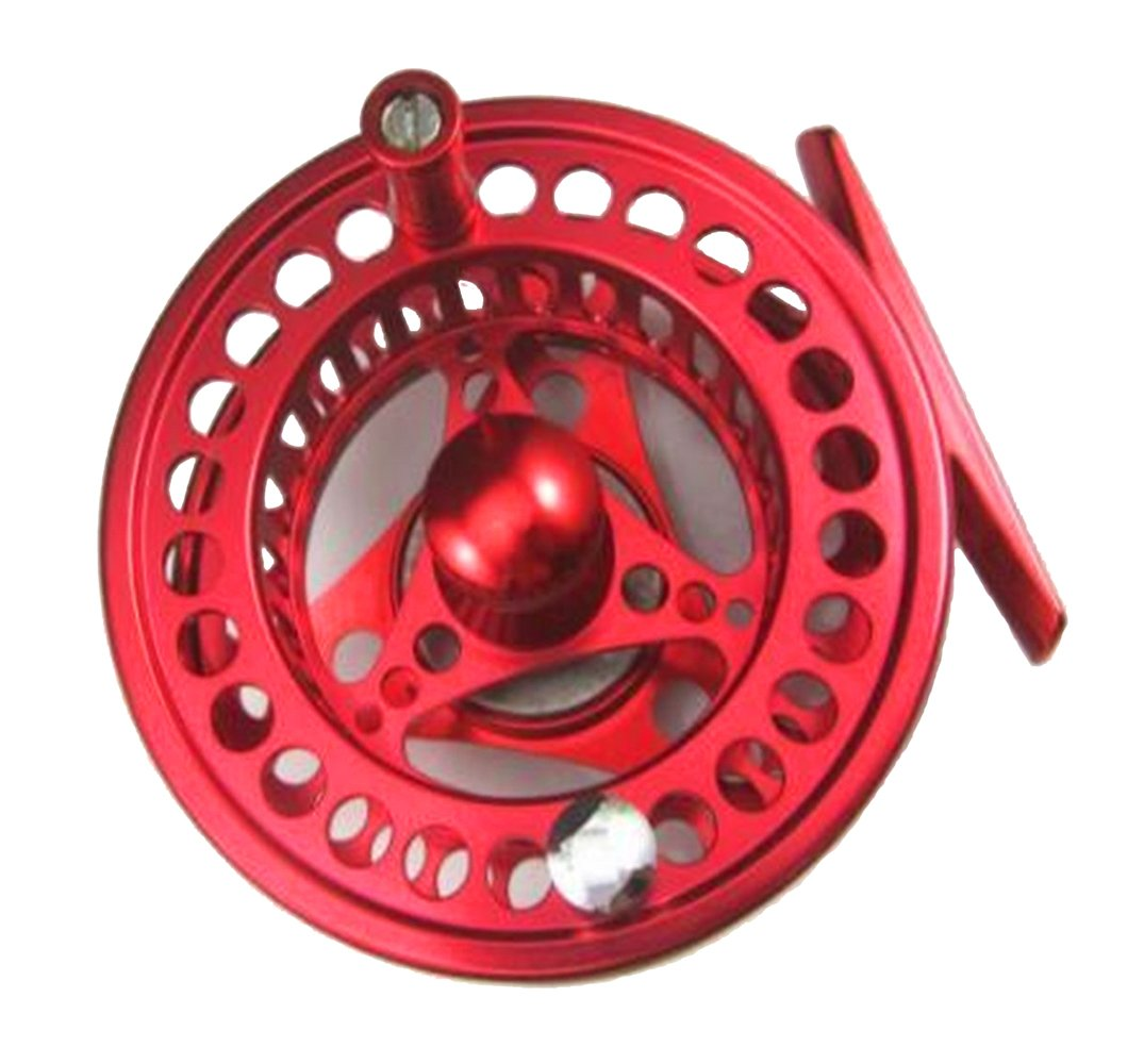 SUNDELY Red Color Diecast Aluminum Alloy 5 6 Fly Fishing Reel Left and Right Hand Retrieve – 85mm 3.34 Outer Diameter