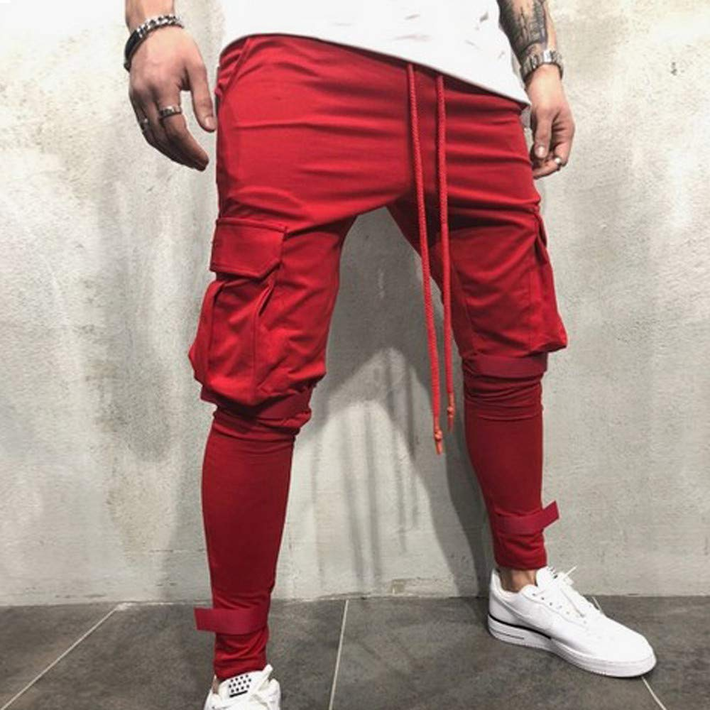 Men's Joggers Sweatpants Ankola Men's Active Sports Running Workout Pant with Pockets Casual Trouser (XXXL, Red) by Ankola-Men's Pants (Image #2)