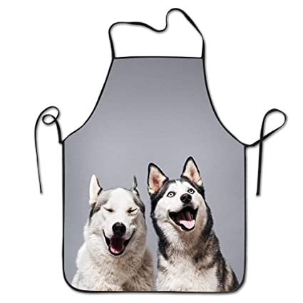 Amazon Com Funny Personality Apron Two Happy Husky Dogs Outdoor