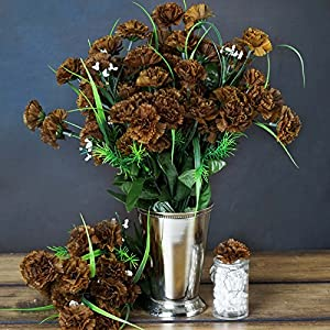 Tableclothsfactory 252 Mini Artificial Carnations Wedding Flowers Sale - Chocolate Brown 16