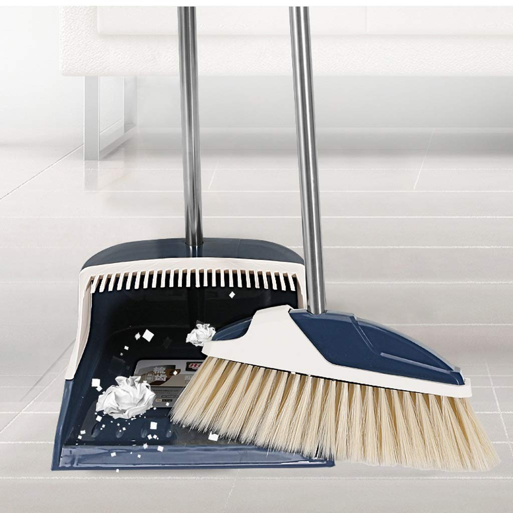 Family Soft-wool Plastic Broom Combination -36.6/31.8-inch Long Handle Stainless Steel Single Broom Trash Can Combination And Dust Pan Stand Grip Whisk For Group, Office. by Broom&Dustpan