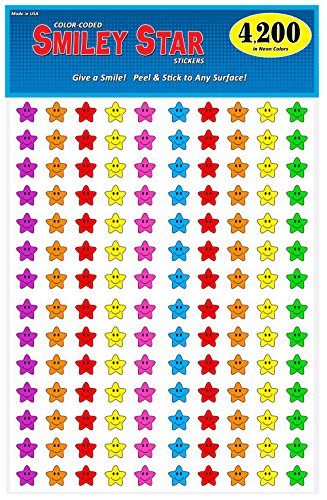 Pack of 4200 Happy Face Smiley Star Stickers, 3/4 inch, 7 Bright Neon Colors, Great for Teachers & Classrooms!…