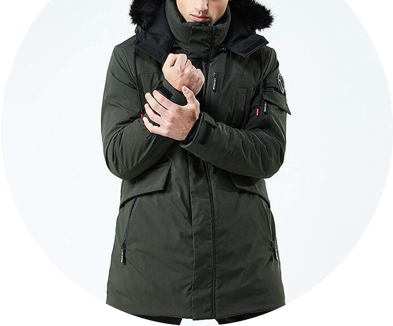 Amazon Com Winter Coat Men Windbreaker Fur Hooded Thicken Jacket Mens Streetwear Hiphop Militnavy Bluexl Clothing