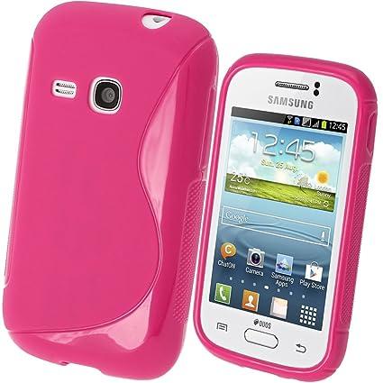 igadgitz S Line Rosa Case TPU Gel Funda Cover Carcasa para Samsung Galaxy Young S6310 Android Smartphone + Protector de pantalla