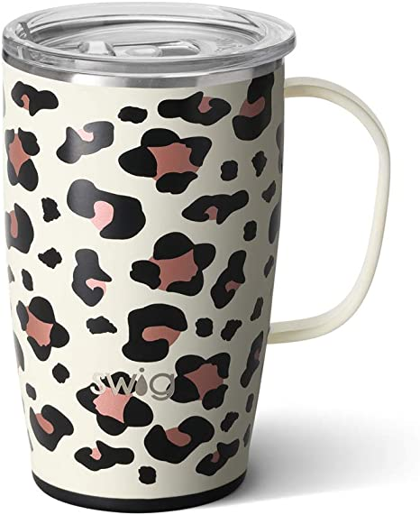 Amazon Com Swig Life 18oz Triple Insulated Travel Mug With Handle And Lid Dishwasher Safe Double Wall And Vacuum Sealed Stainless Steel Coffee Mug In Luxy Leopard Print Multiple Patterns Available Kitchen