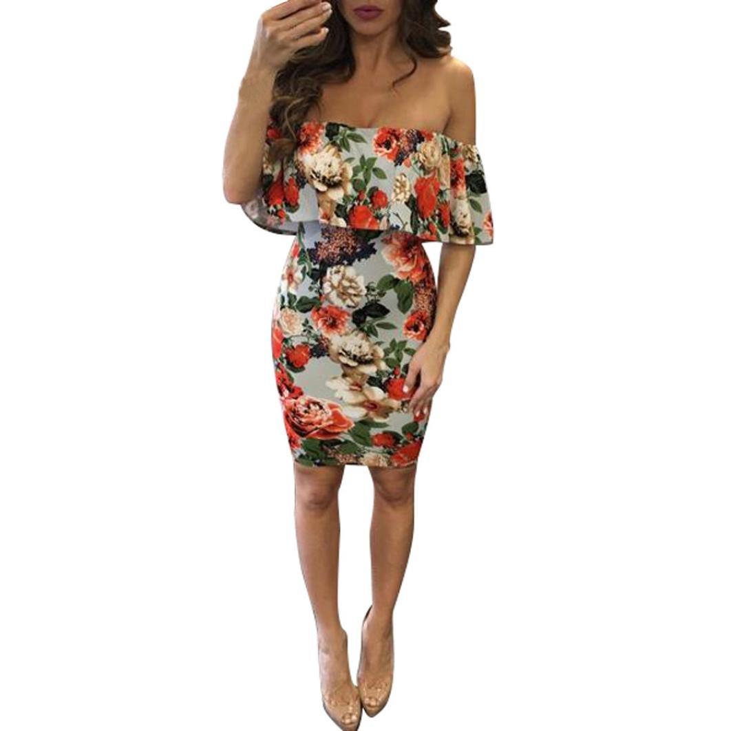 Damen Kleid Schulterfrei Kleid Trägerlos Abendkleid Sexy Sommerkleid ...